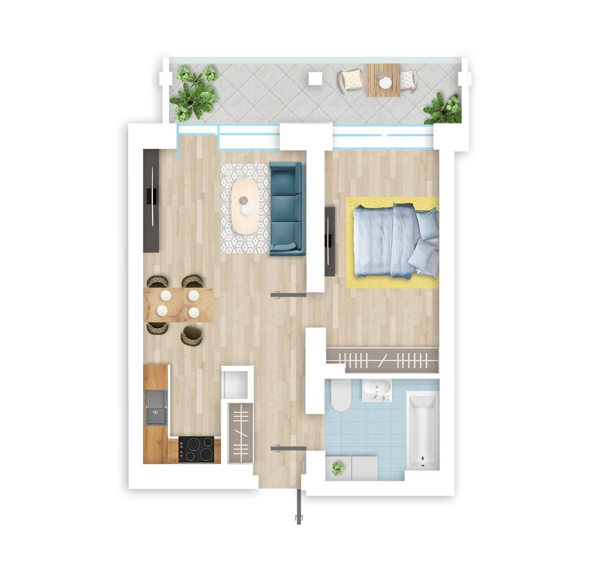 parduodamas butas Lietaus g. 4 - 10 Vilniuje, buto 3D vaizdas