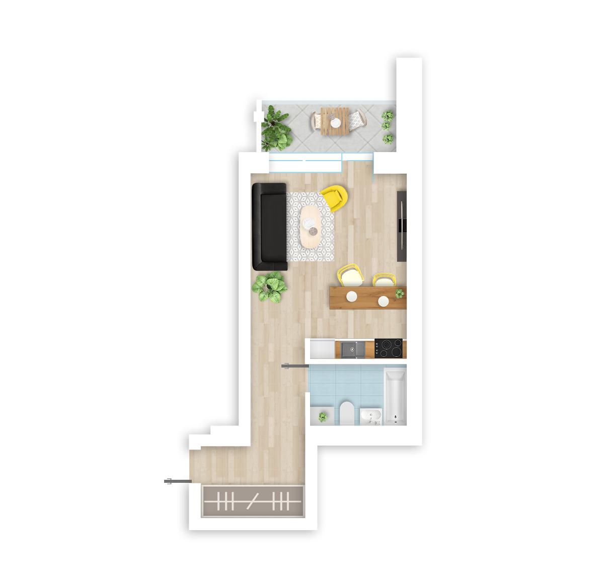 parduodamas butas Lazdynėlių g. 18 - 11 Vilniuje, buto 3D vaizdas