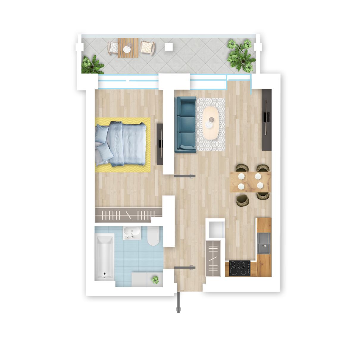 parduodamas butas Lazdynėlių g. 18 - 36 Vilniuje, buto 3D vaizdas