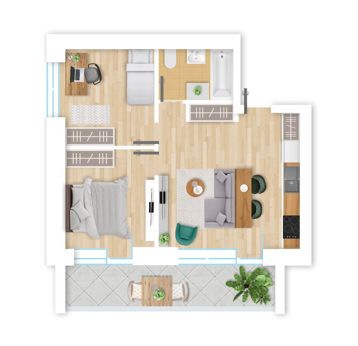 parduodamas butas Lazdynėlių g. 16A - 19 Vilniuje, buto 3D vaizdas