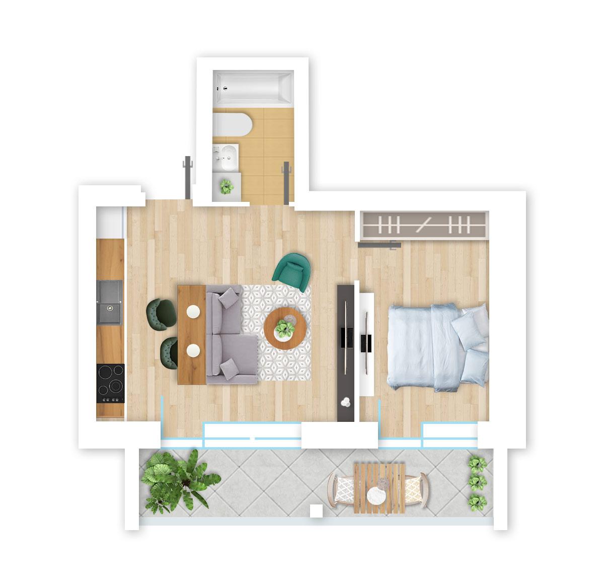 parduodamas butas Lazdynėlių g. 16A - 29 Vilniuje, buto 3D vaizdas
