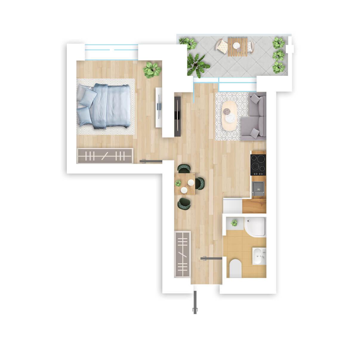 parduodamas butas Lazdynėlių g. 16A - 3 Vilniuje, buto 3D vaizdas