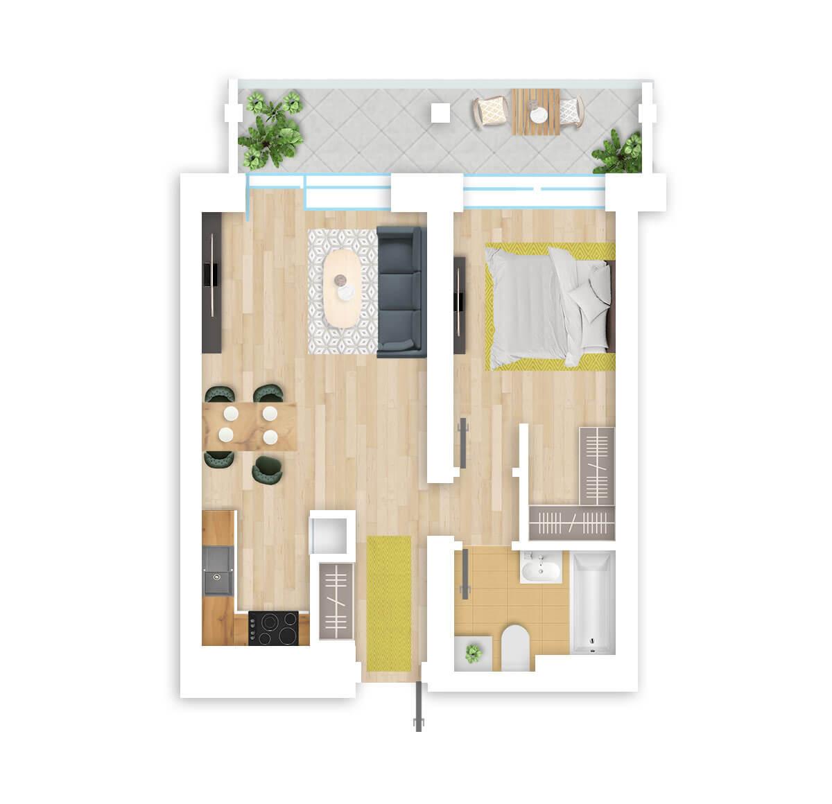 parduodamas butas Lazdynėlių g. 16A - 4 Vilniuje, buto 3D vaizdas