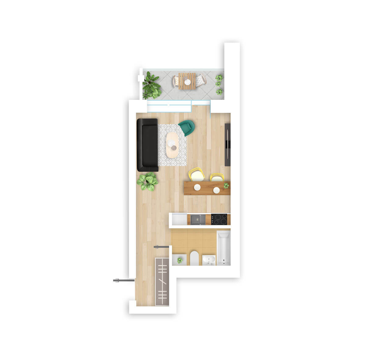 parduodamas butas Lazdynėlių g. 16A - 17 Vilniuje, buto 3D vaizdas