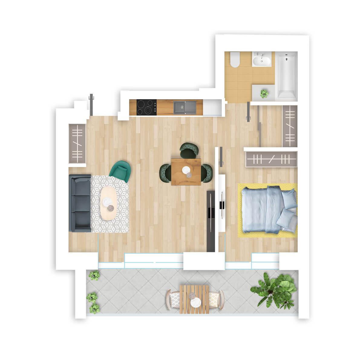 parduodamas butas Lazdynėlių g. 16A - 6 Vilniuje, buto 3D vaizdas