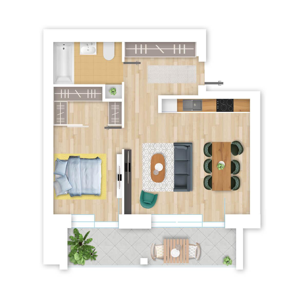 parduodamas butas Lazdynėlių g. 16A - 45 Vilniuje, buto 3D vaizdas