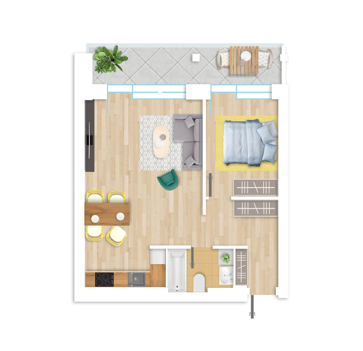 parduodamas butas Lazdynėlių g. 16A - 31 Vilniuje, buto 3D vaizdas