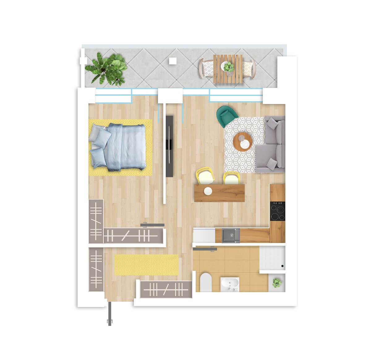 parduodamas butas Lazdynėlių g. 16A - 32 Vilniuje, buto 3D vaizdas