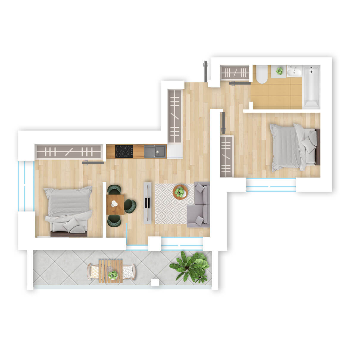 parduodamas butas Lazdynėlių g. 16B - 9 Vilniuje, buto 3D vaizdas