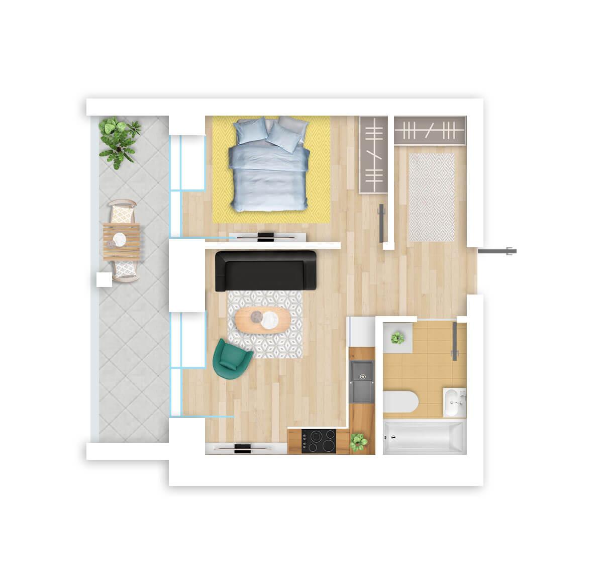 parduodamas butas Lazdynėlių g. 16B - 26 Vilniuje, buto 3D vaizdas