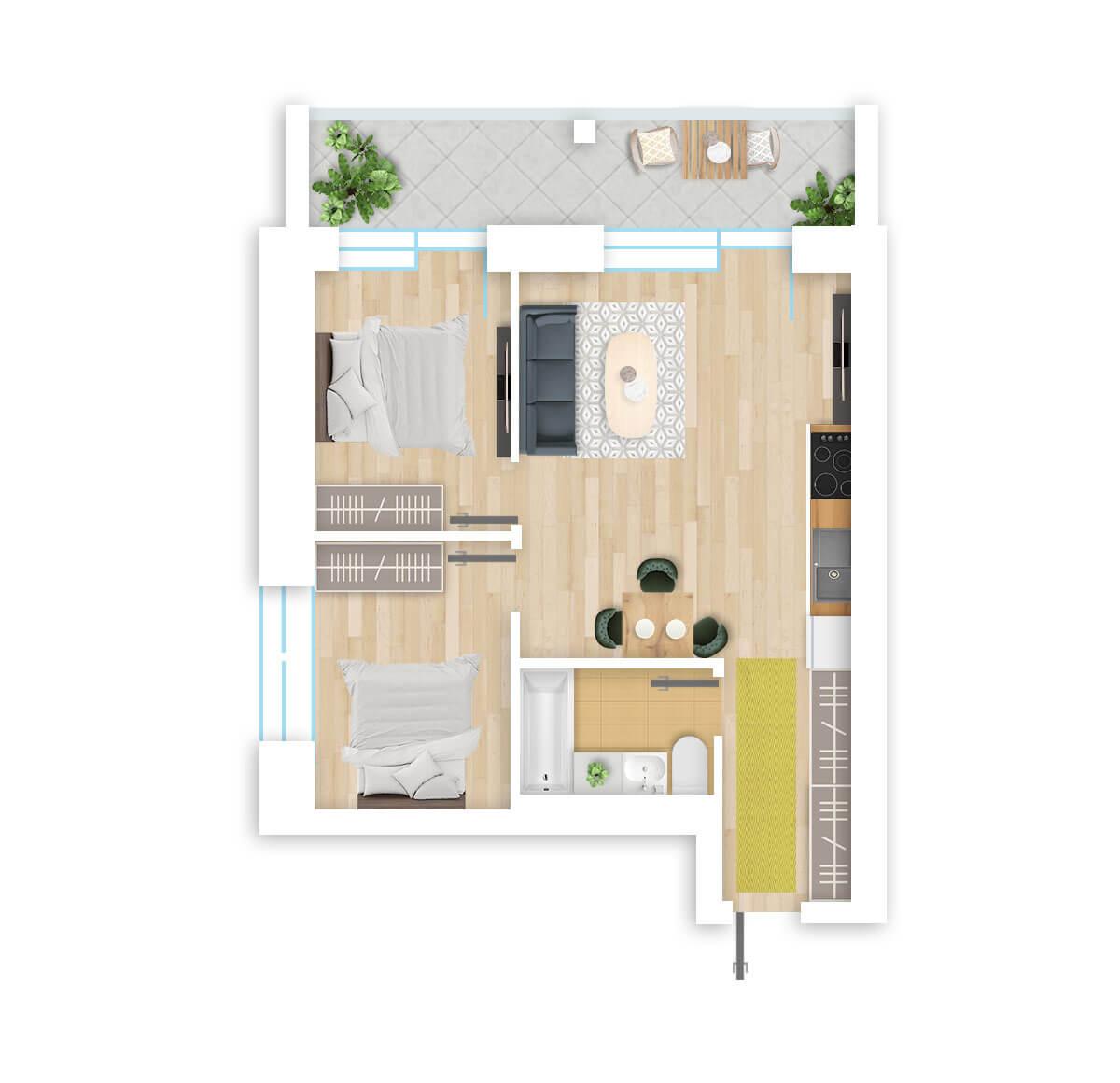 parduodamas butas Lazdynėlių g. 16B - 35 Vilniuje, buto 3D vaizdas