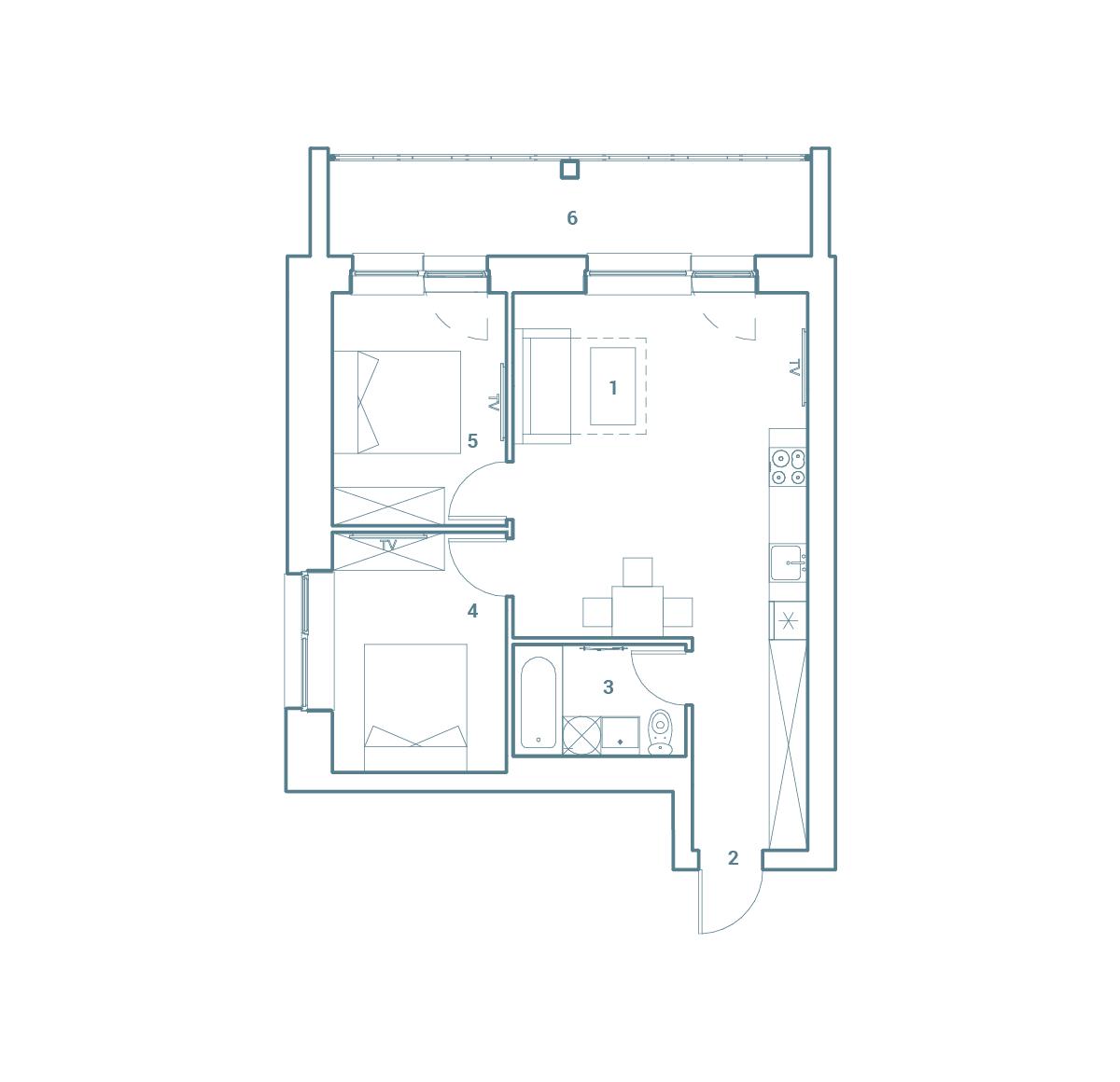 parduodamas butas Lazdynėlių g. 16B - 35  Vilniuje, buto 2D vaizdas