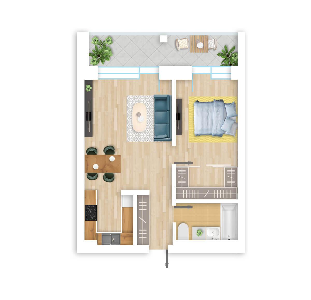 parduodamas butas Lazdynėlių g. 16B - 36 Vilniuje, buto 3D vaizdas