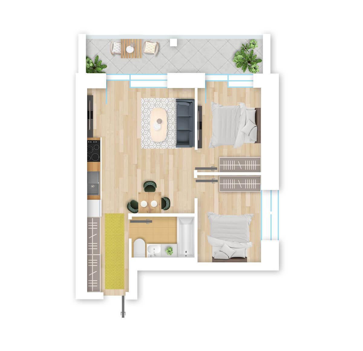 parduodamas butas Lazdynėlių g. 16B - 30 Vilniuje, buto 3D vaizdas