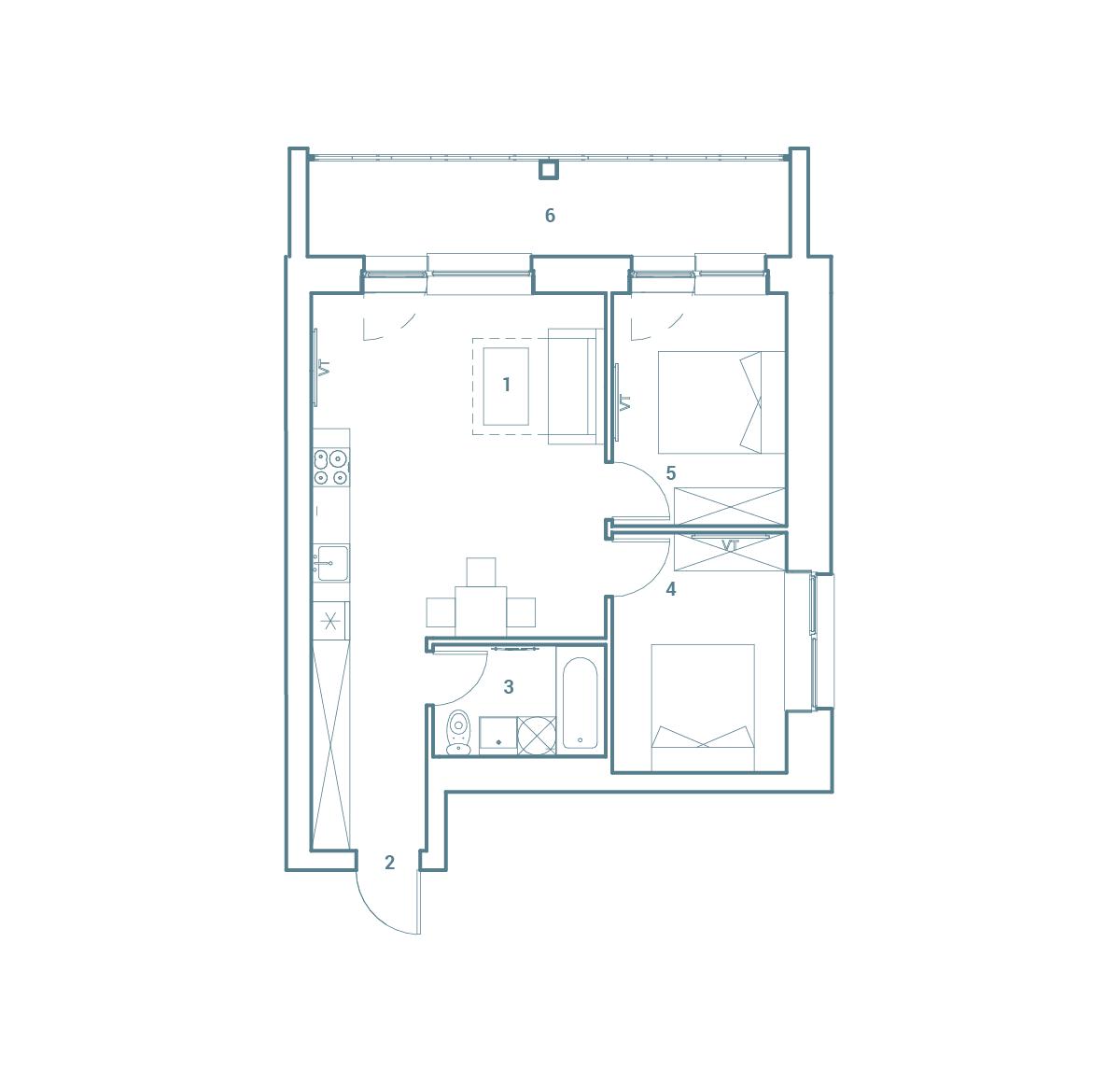 parduodamas butas Lazdynėlių g. 16B - 30  Vilniuje, buto 2D vaizdas