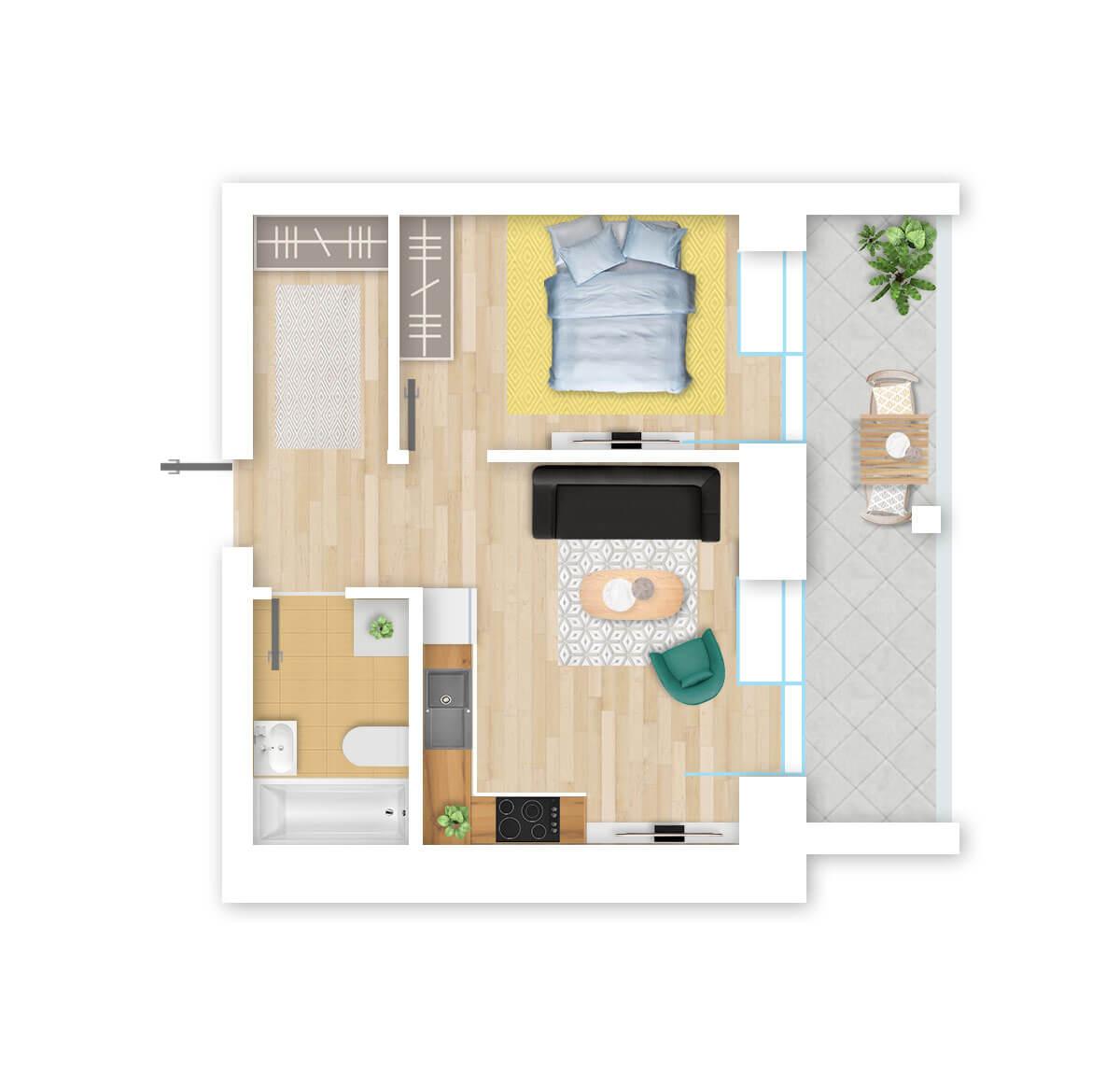 parduodamas butas Lazdynėlių g. 16B - 15 Vilniuje, buto 3D vaizdas
