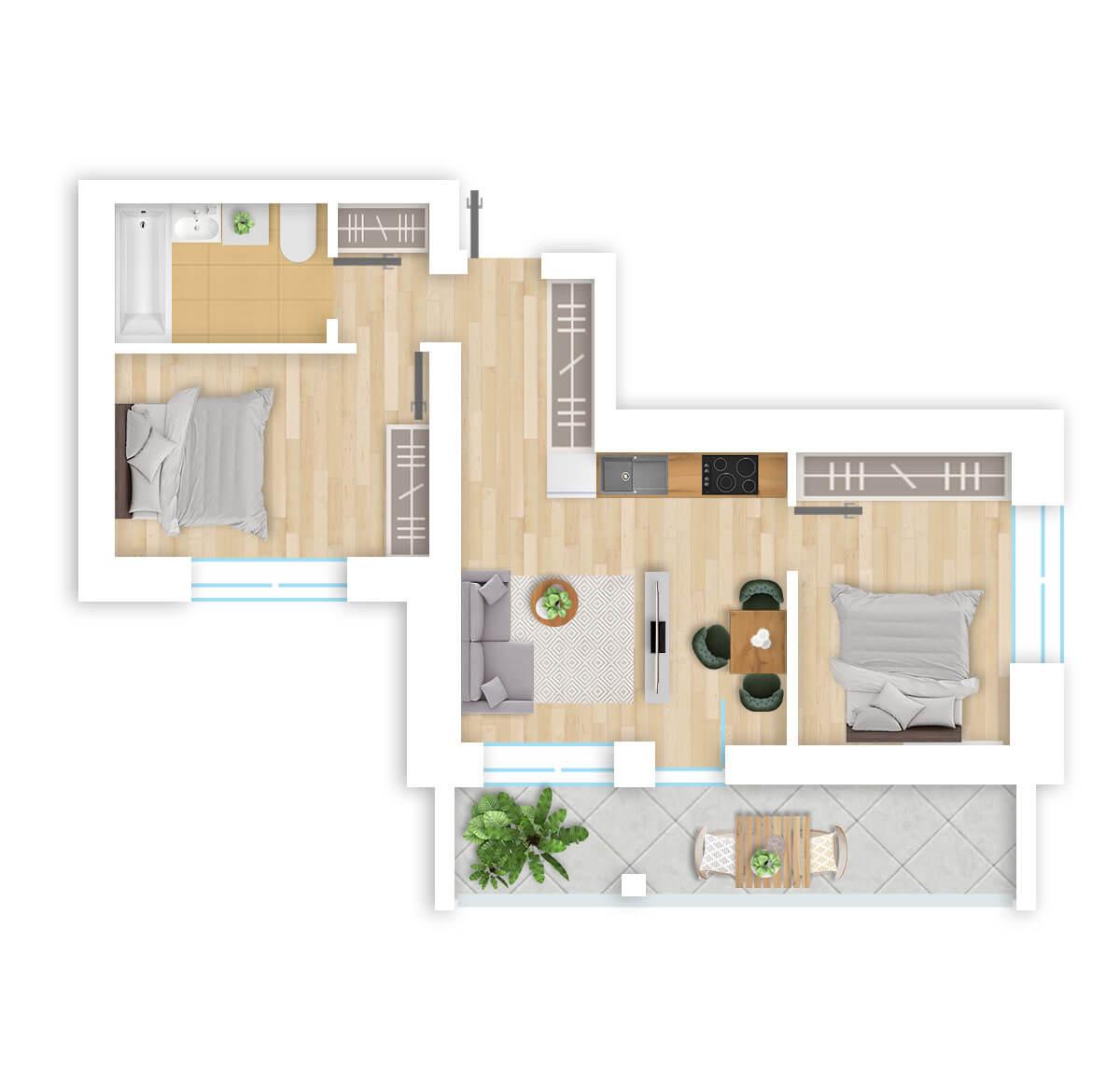 parduodamas butas Lazdynėlių g. 16B - 24 Vilniuje, buto 3D vaizdas
