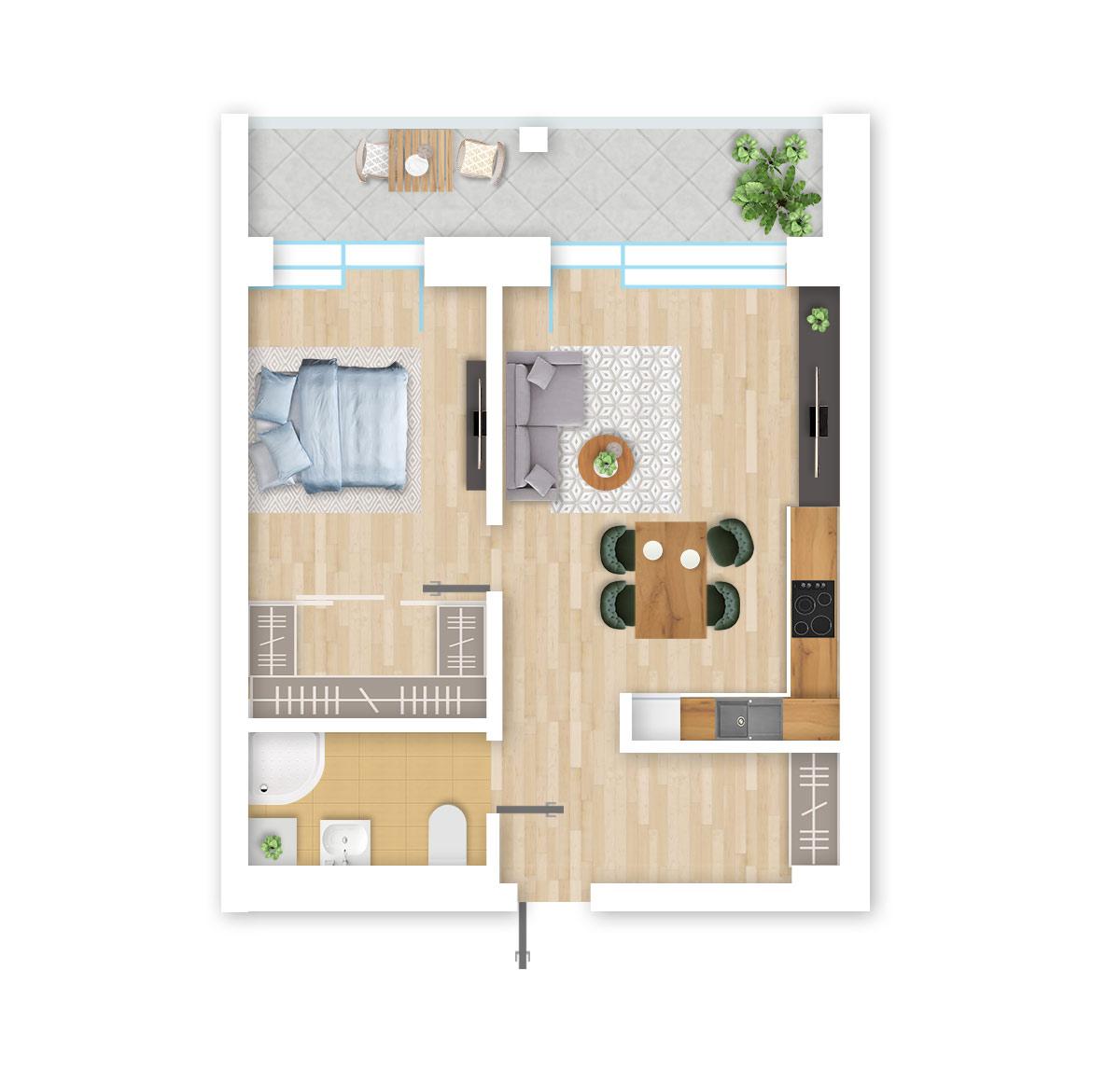 parduodamas butas Lazdynėlių g. 16B - 29 Vilniuje, buto 3D vaizdas