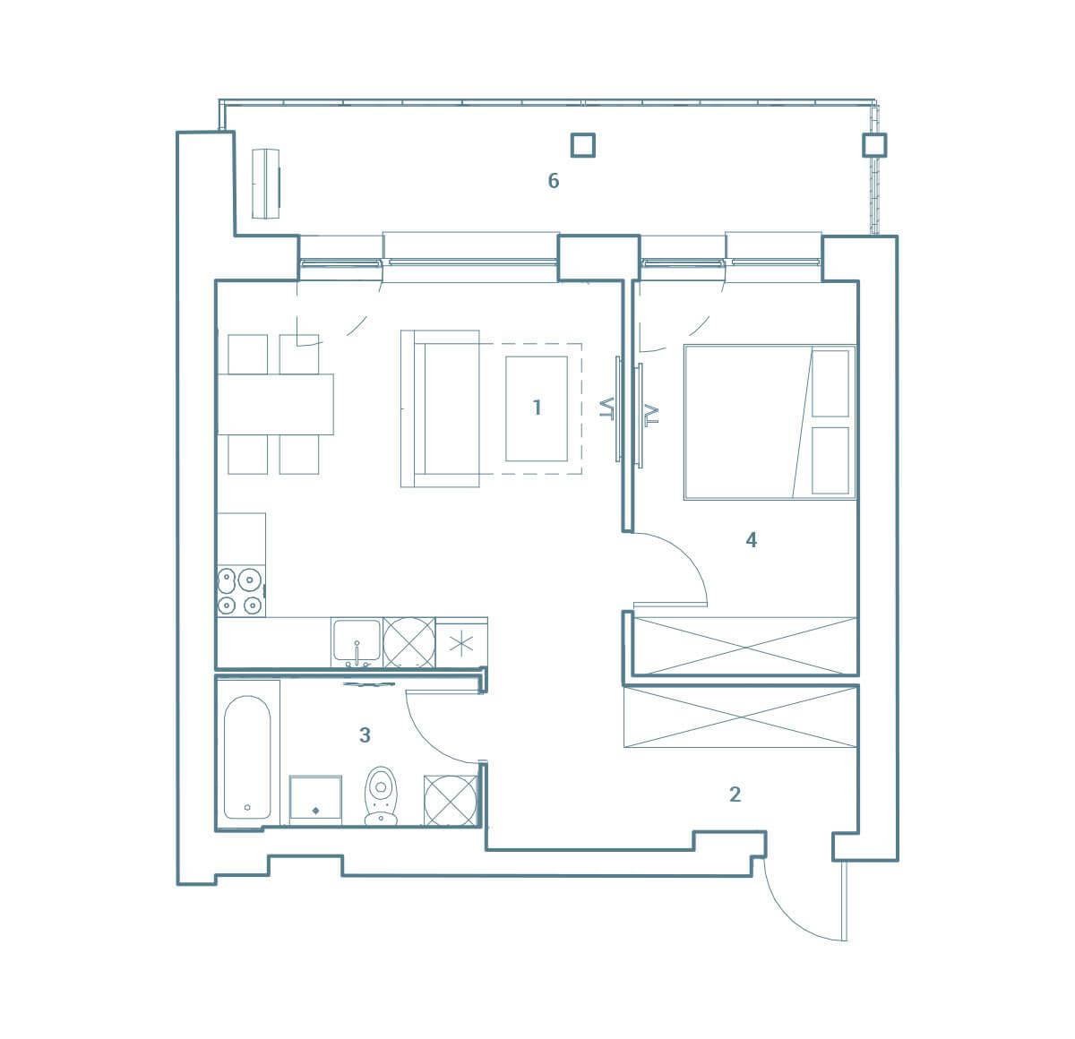parduodamas butas Lazdynėlių g. 16C - 15  Vilniuje, buto 2D vaizdas