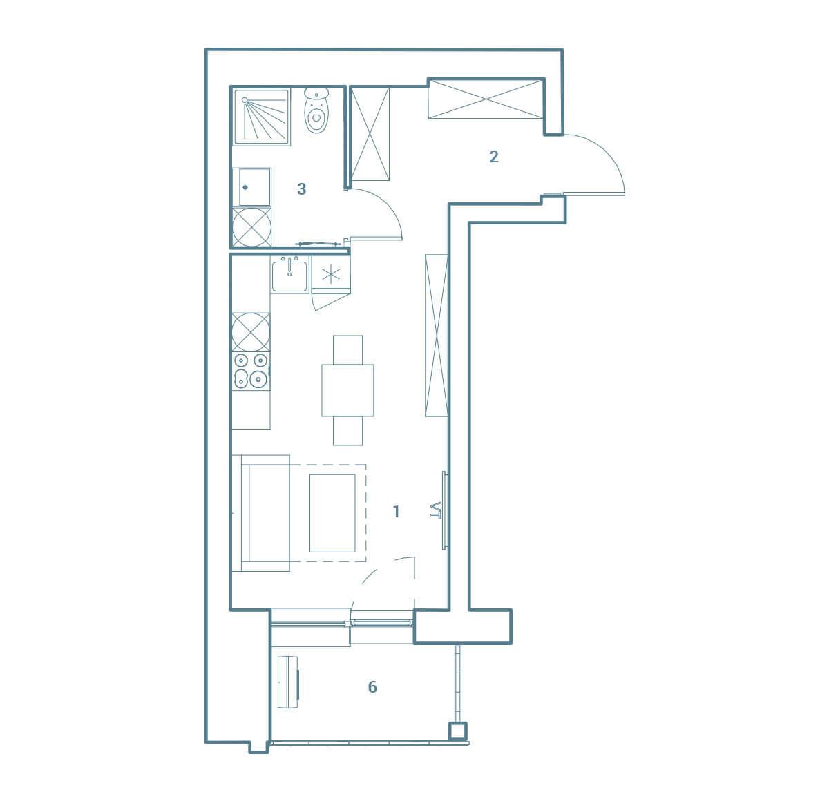 parduodamas butas Lazdynėlių g. 16C - 44  Vilniuje, buto 2D vaizdas