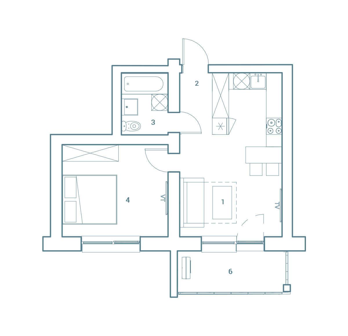 parduodamas butas Lazdynėlių g. 16C - 18  Vilniuje, buto 2D vaizdas