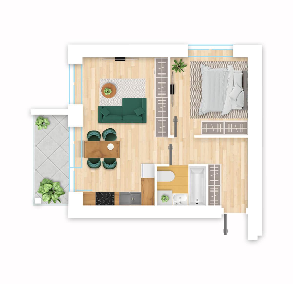 parduodamas butas Lazdynėlių g. 16C - 14 Vilniuje, buto 3D vaizdas