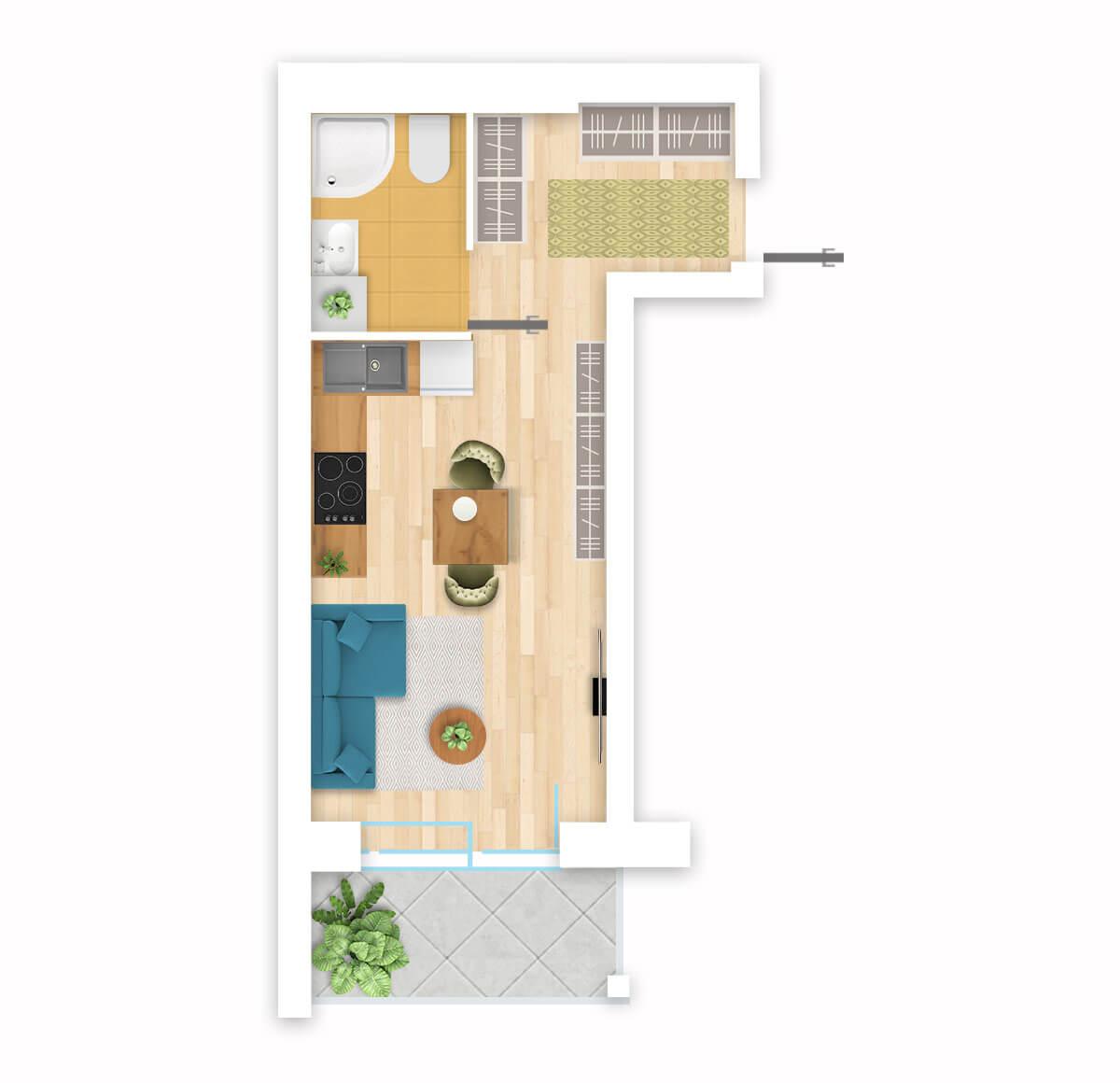 parduodamas butas Lazdynėlių g. 16C - 44 Vilniuje, buto 3D vaizdas