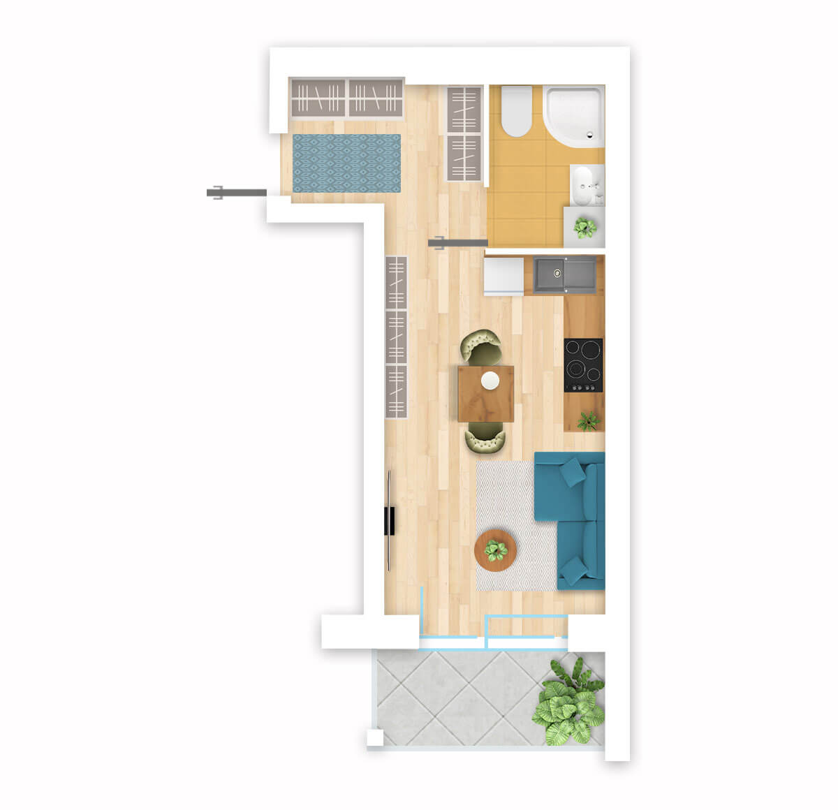 parduodamas butas Lazdynėlių g. 16C - 23 Vilniuje, buto 3D vaizdas