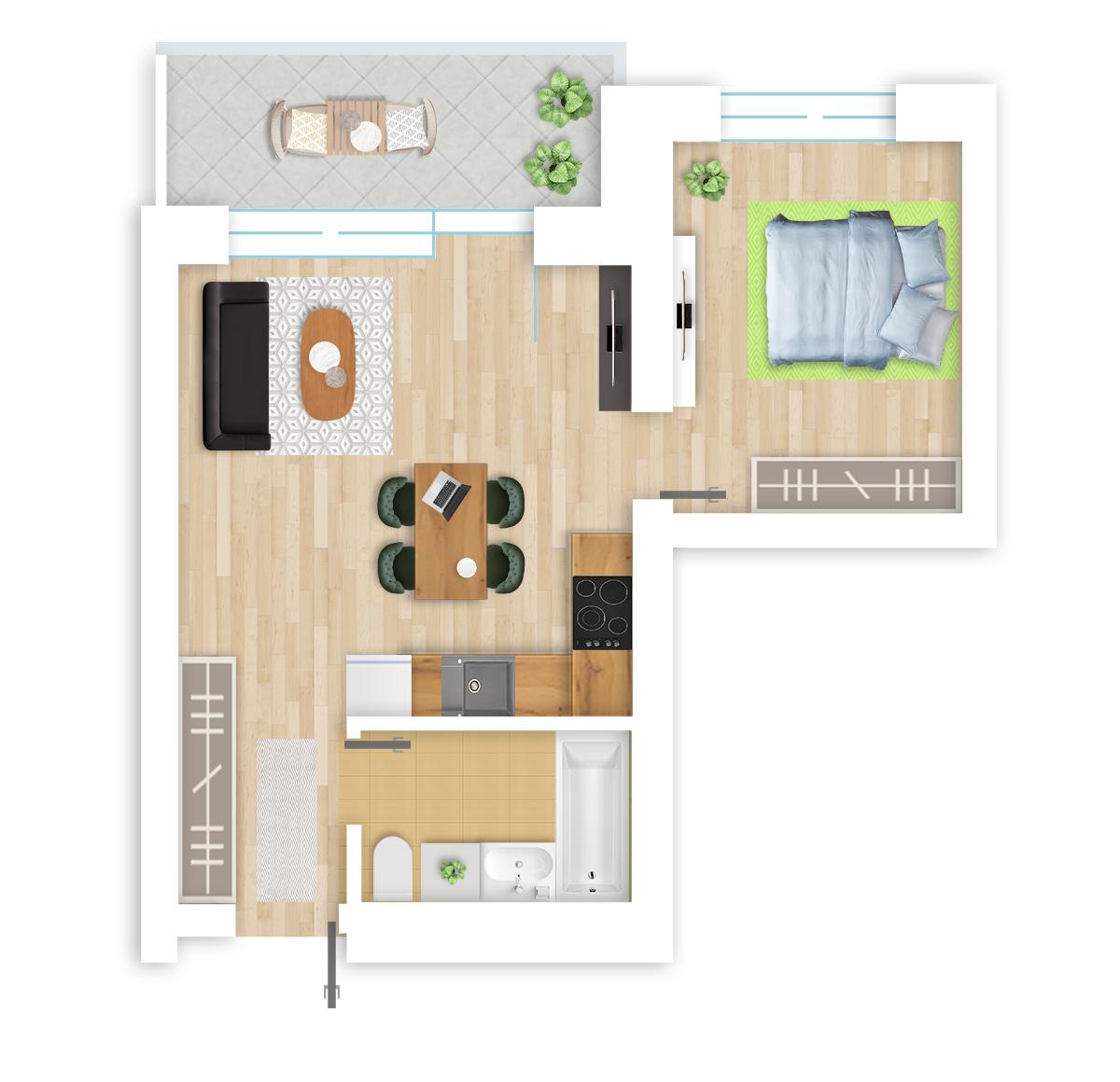 parduodamas butas Lazdynėlių g. 16 - 52 Vilniuje, buto 3D vaizdas